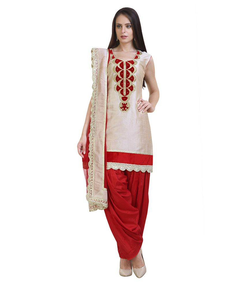 Libas Beige And Red Chanderi Suit