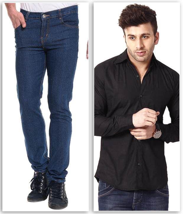 Ree Combo Of Blue Slim Denim Jeans And Black Shirt