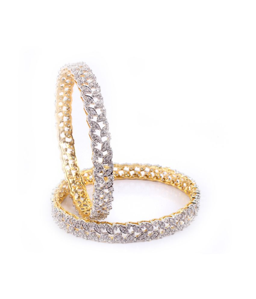 Affinity Charming Leaves Pattern Cz Stone Bangles