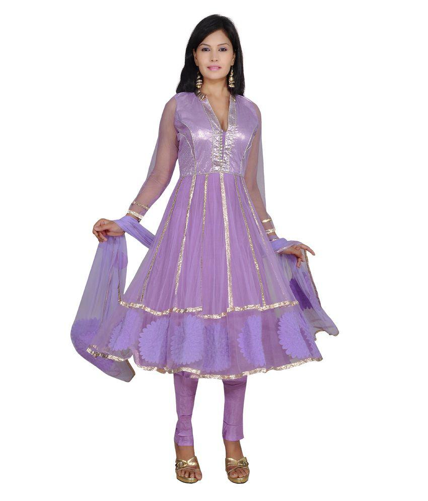 Ajahara Purple Printed Net Anarkali Salwar Suit