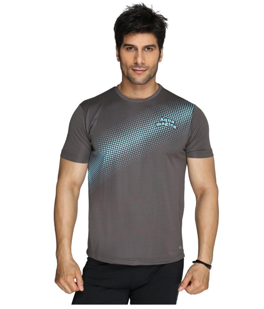 Aquamagica Gray Polyester T-shirt