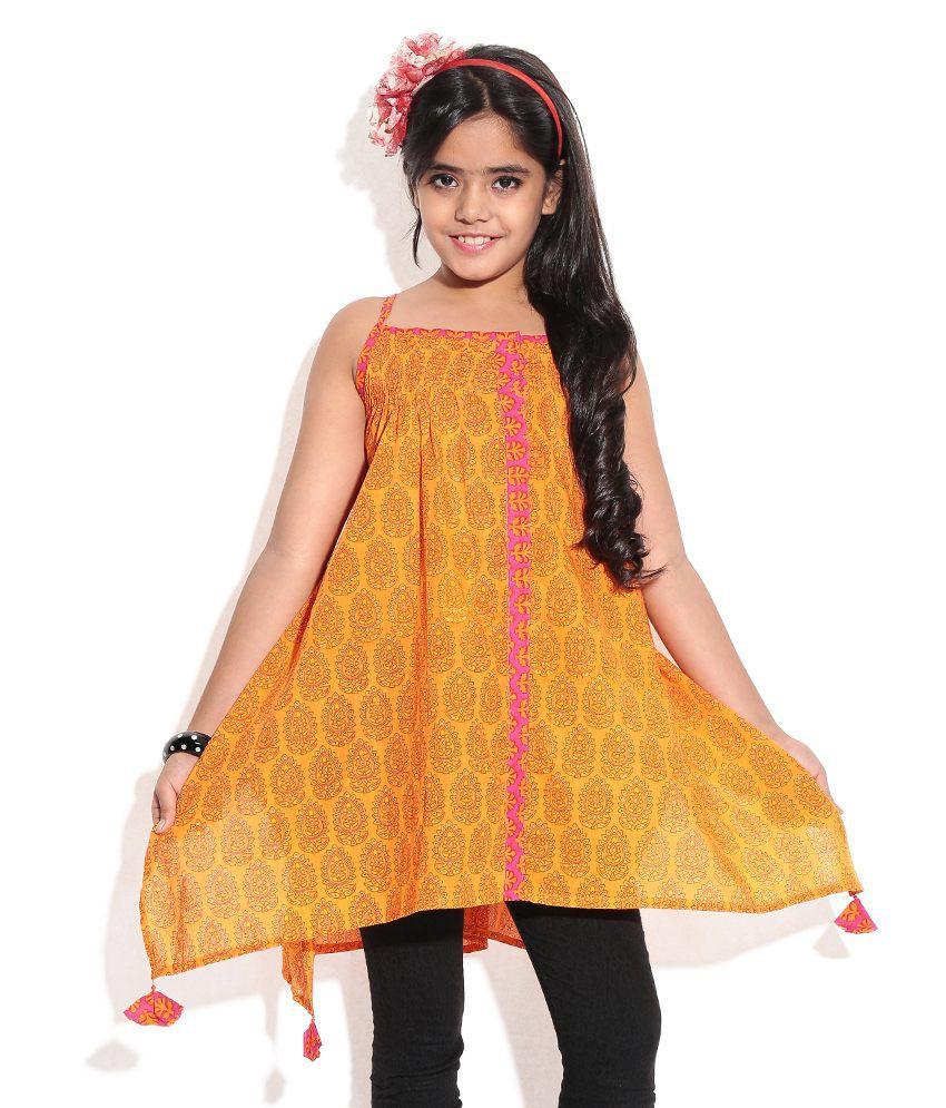 BIBA Orange Color Salwaar Suit Set For Kids  available at snapdeal for Rs.560