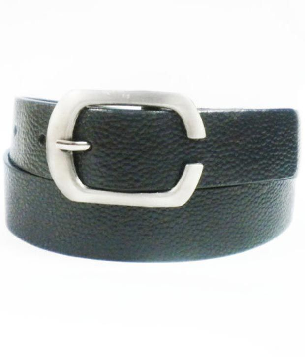 Deri(genuine Leather) Solid Dot Design Causual Black Belt