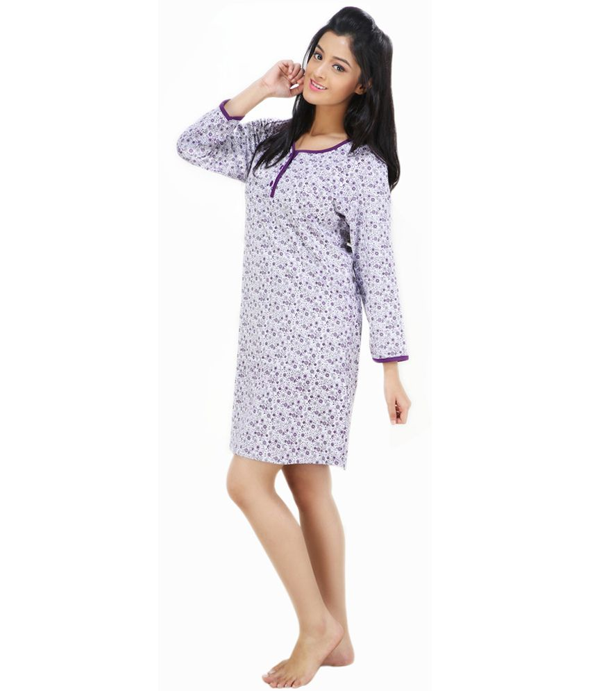 b1534b15b8 Buy Nite Flite Gray Cotton Nighty Online at Best Prices in India - Snapdeal