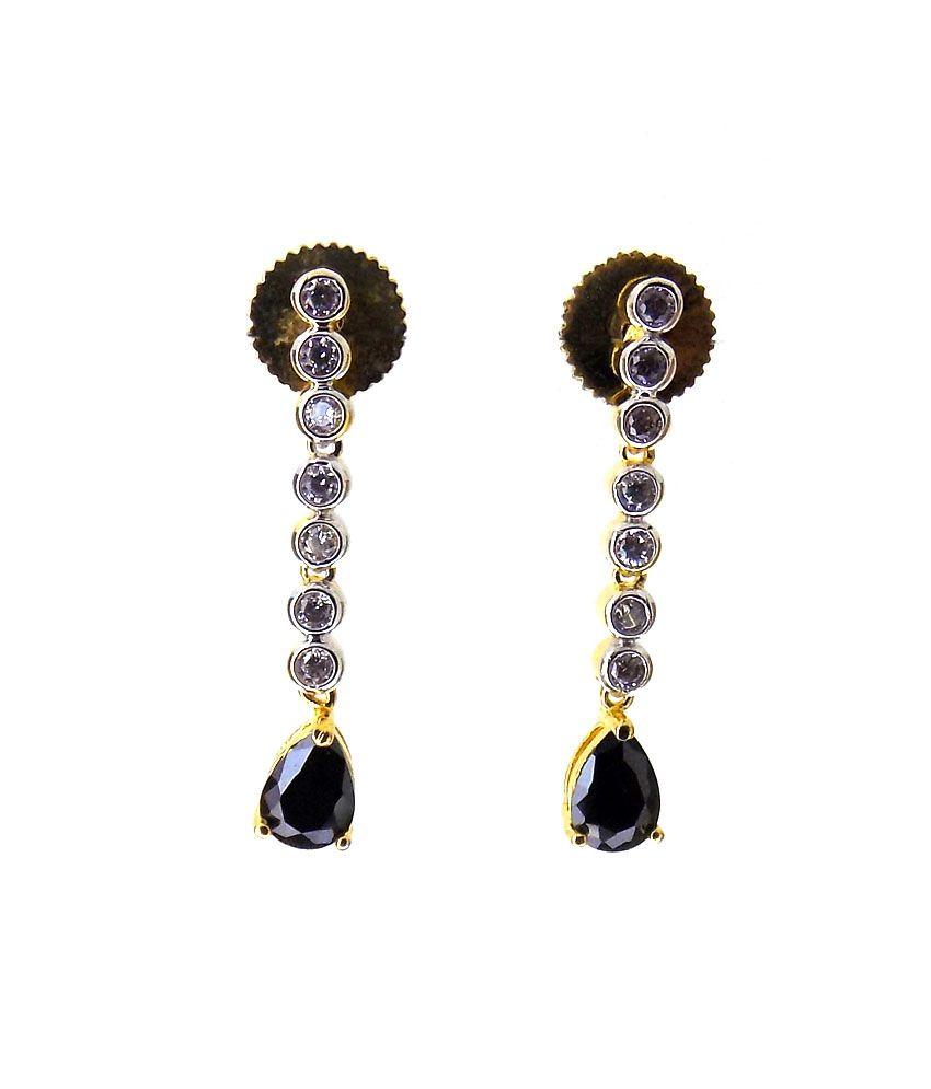 Aabhushan Jewels American Diamond Gold Plated Gemstones Look Earrings For Women