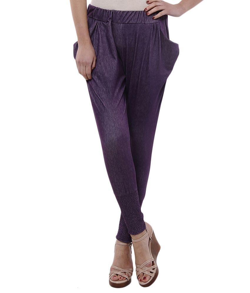 Femmora Purple Cotton Jeggings