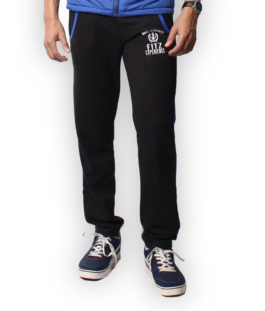 Fitz Black Cotton Blend Trackpant