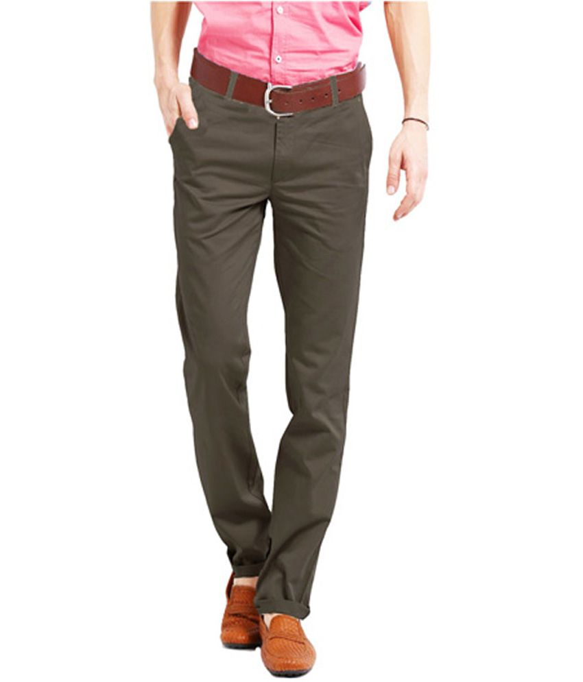 Perfects Brown Cotton Regular Fit Formal Trouser