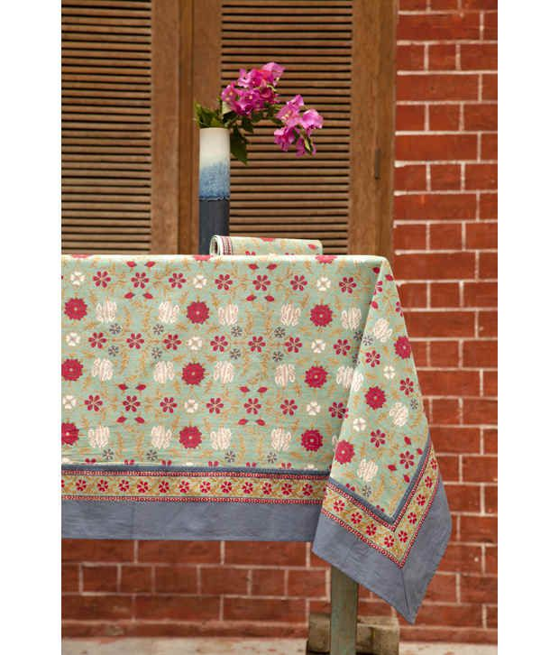 The shop blue tara teal printed table cloth 8 seater for 10 seater table cloth