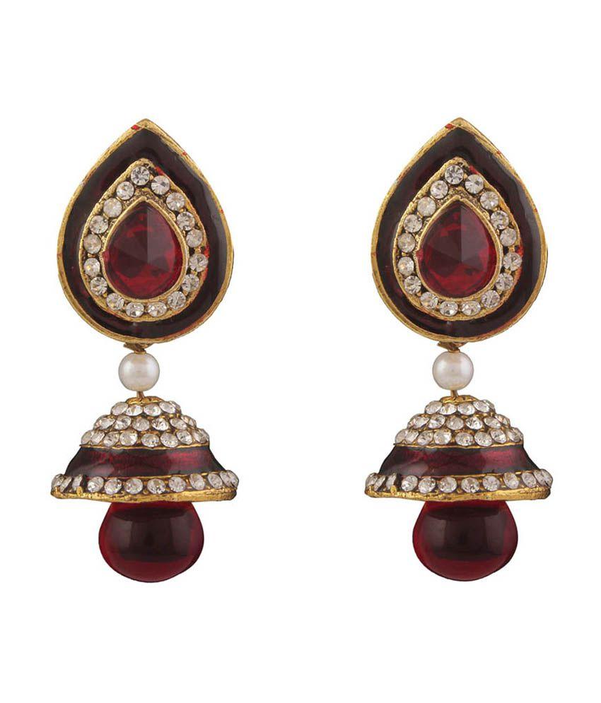 Variation Maroon Minakari CZ Studded Jhumki Earring
