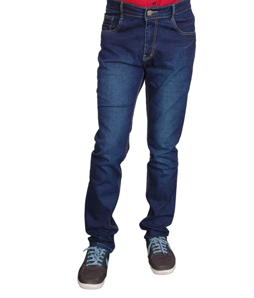 Fashion Flag Blue Cotton Blend Stretchable Jeans