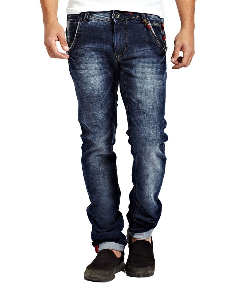 R&c Blue Cotton Blend Narrow Fit Jeans