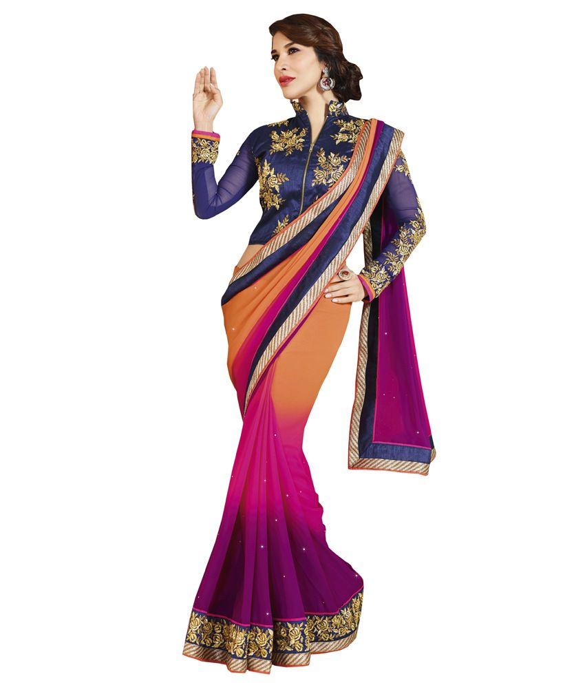 Admyrin Multicoloured Georgette Saree