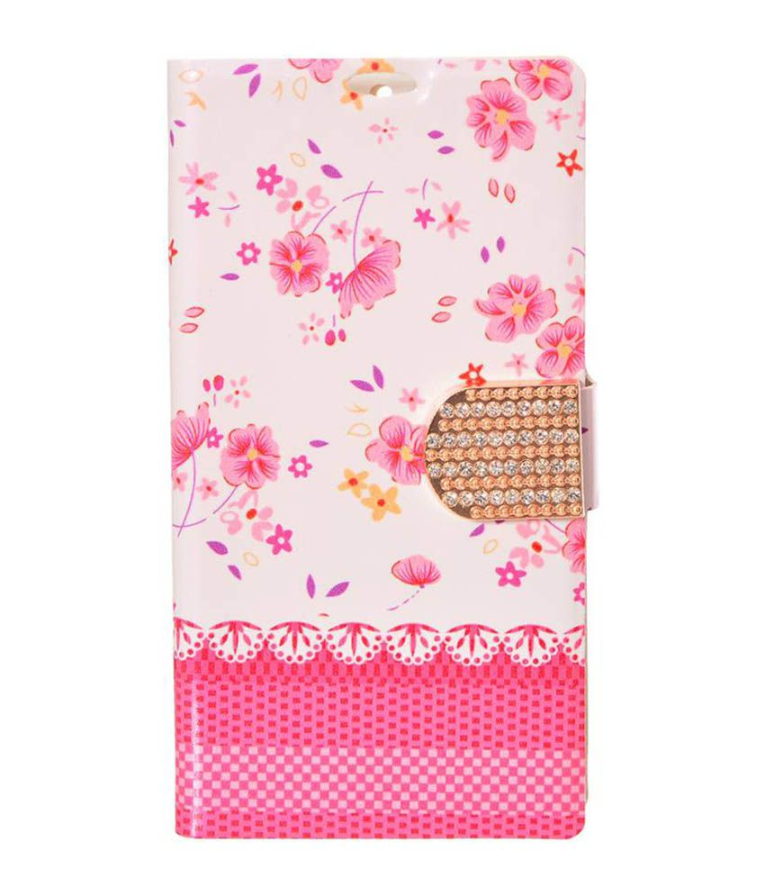 online store 6cce2 c3d6b Dressmyphone Printed Flip Cover With Diamond Clip For Xiaomi Redmi 1s - Pink
