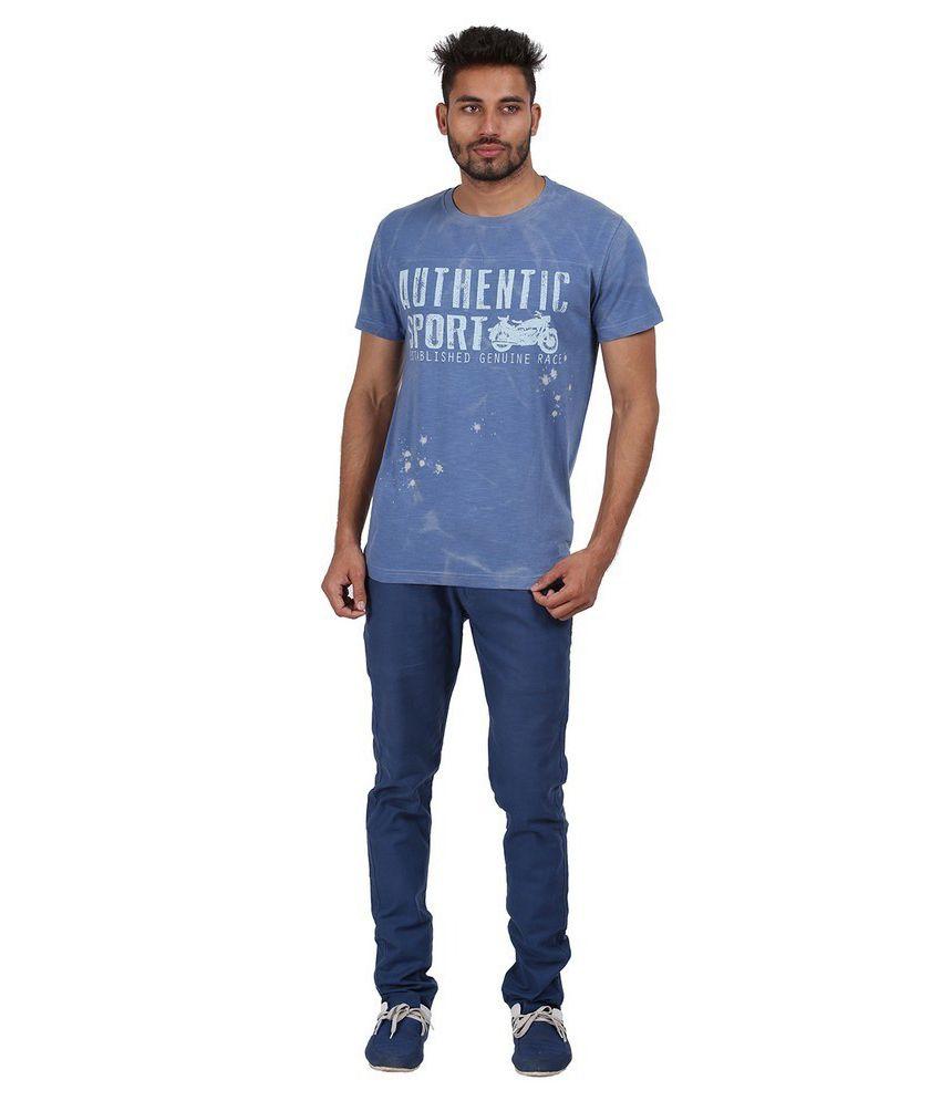 Goflaunt Blue Cotton Blend T-shirt