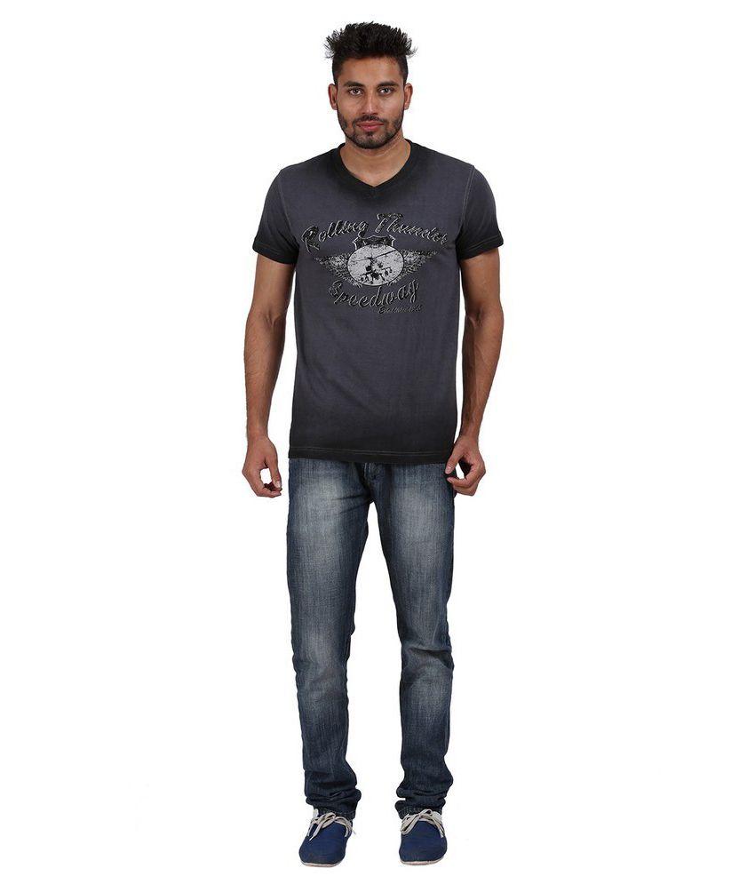Goflaunt Gray Cotton Blend T-shirt