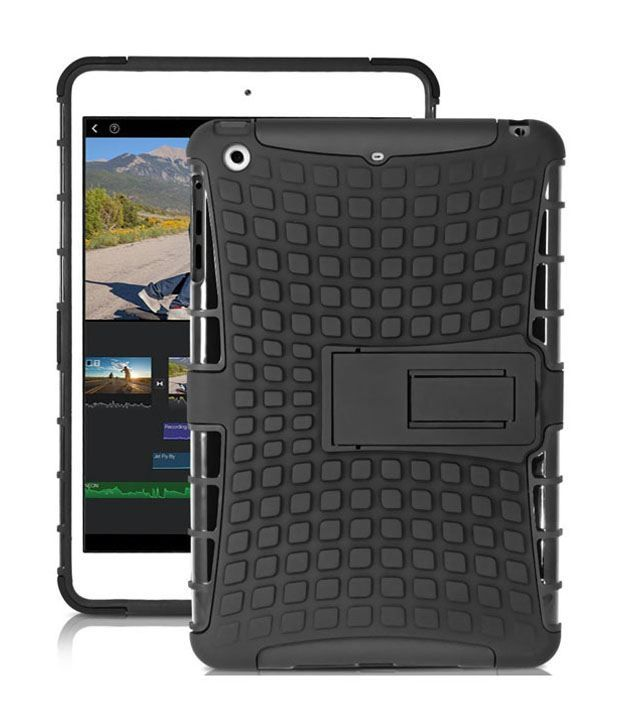 Heartly Flip Kick Stand Hard Dual Armor Hybrid Bumper Back Black Case Cover For Apple iPad Mini 1st Generation