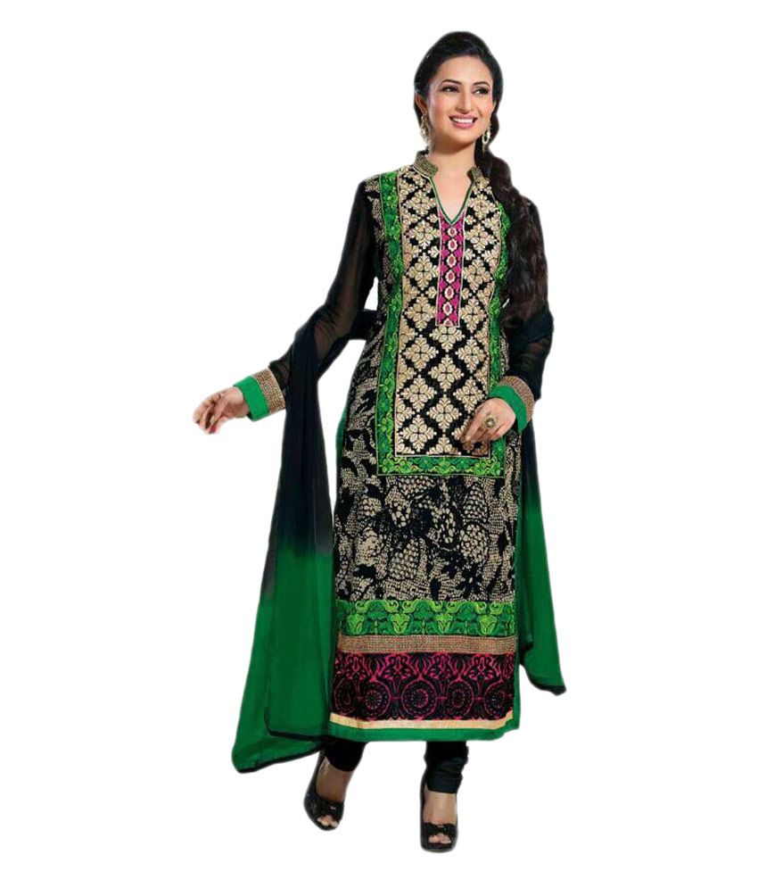 Mahaveer Black Faux Georgette Unstitched Dress Material