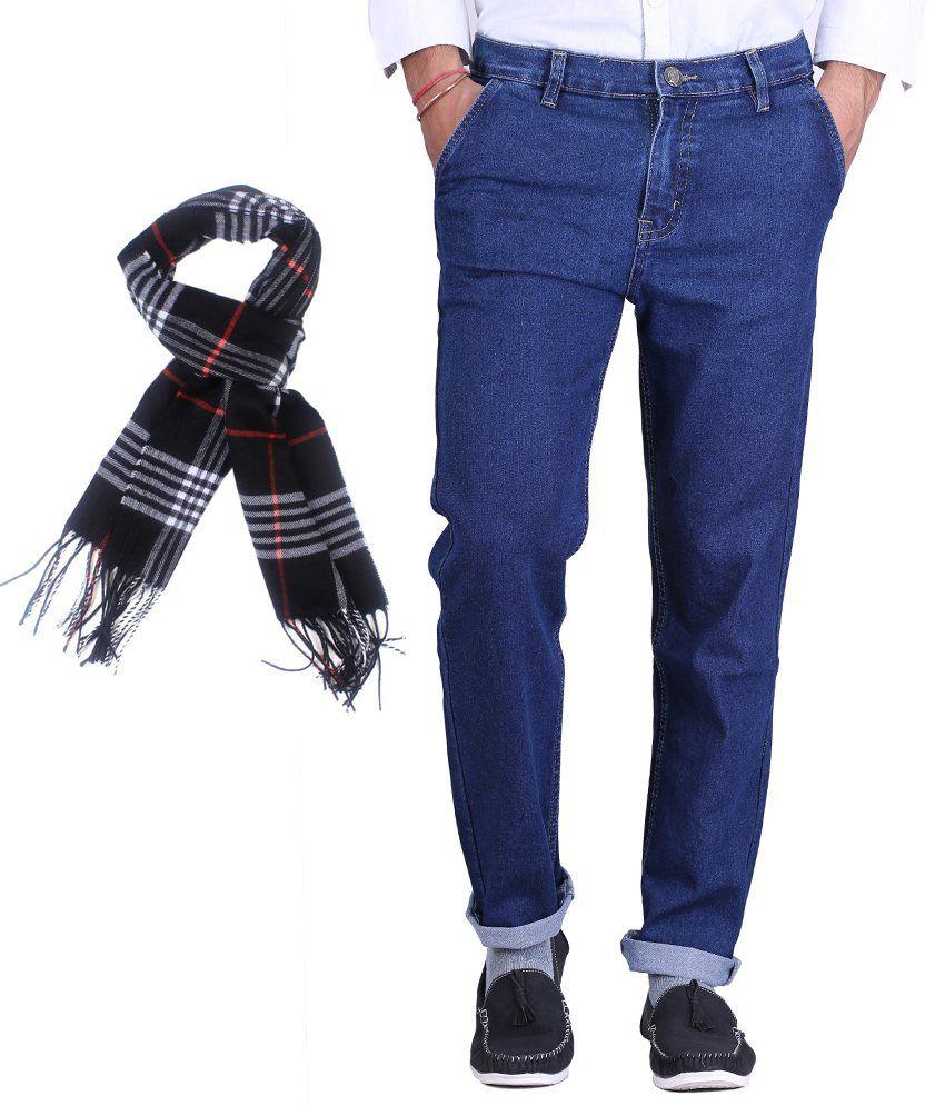 Sam & Jazz Blue Streachable Jeans With 1 Assorted Muffler