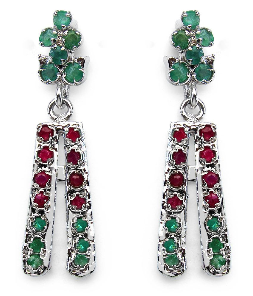 6.22 Grams Genuine Ruby & Emerald Rhodium Plated Brass Earrings