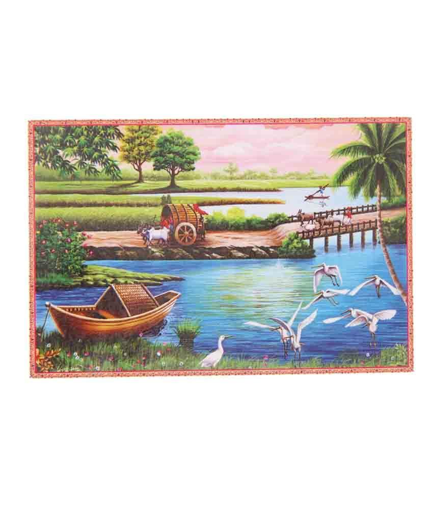 Bm Traders Beautiful Fine Art Village Scenery Rolled Big Poster Buy