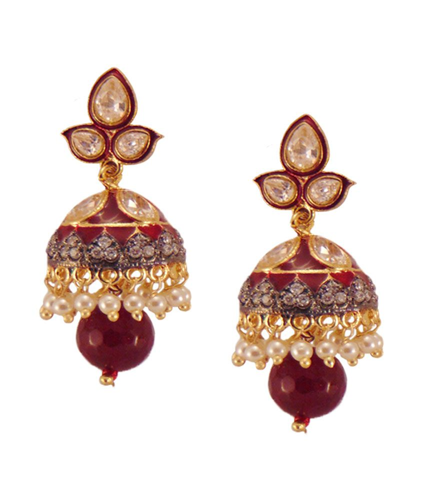 Habors Gold Amira Jhumki Earrings With Pearl