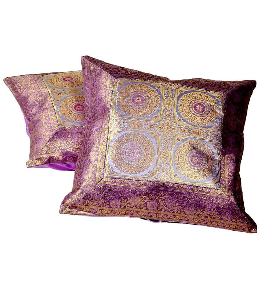Little India Purple Traditional Silk Set Of 2 Cushion Covers