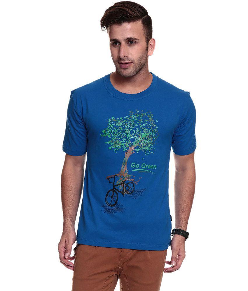 Tsg Escape Men's Round Neck Blue Printed T-shirt