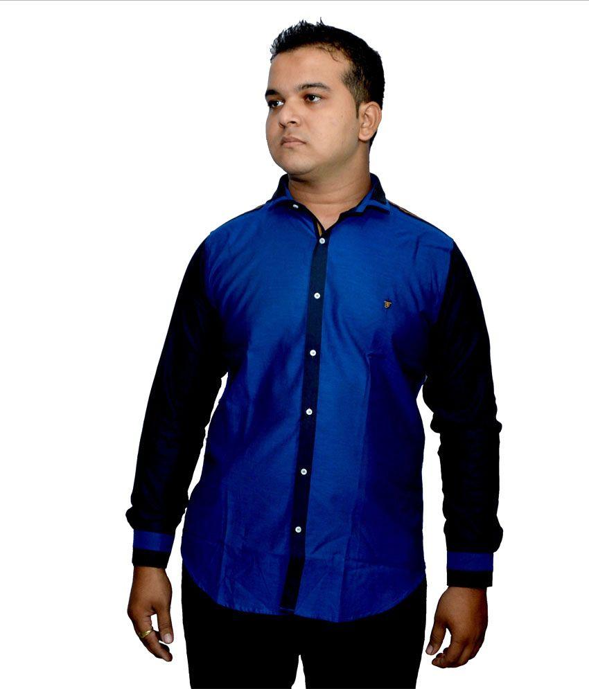 yantai Blue cotton slim fit mens shirt