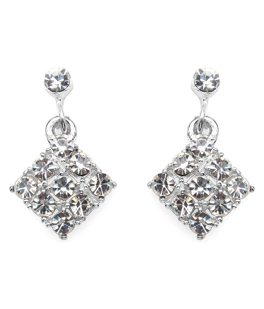 3.00 Grams White Glass Earrings