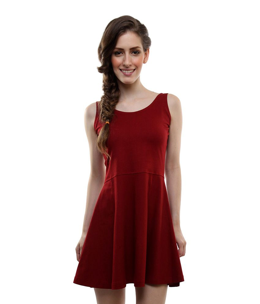 Miss Chase Cotton Maroon Dresses