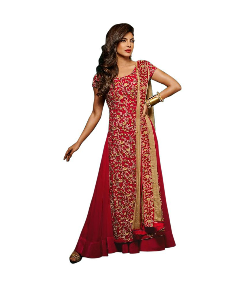shelina Red Cotton Unstitched Dress Material