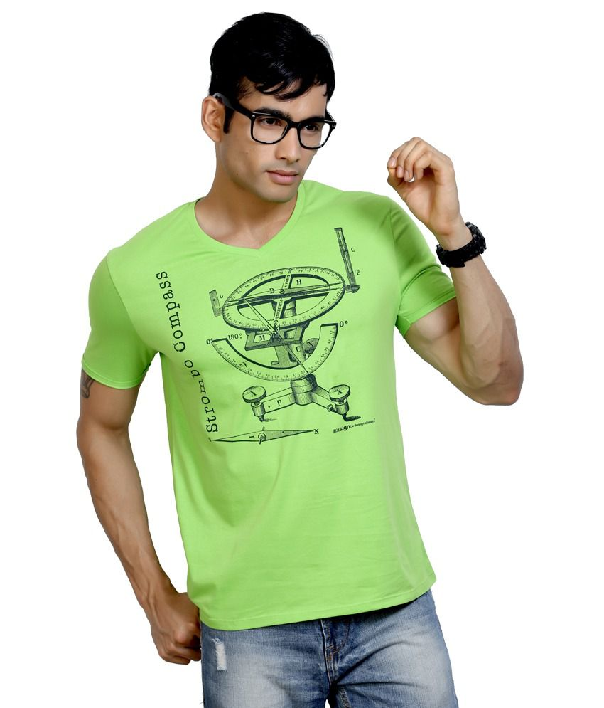 Design Classics Green Cotton V-neck Half Sleeves Mens T-shirt