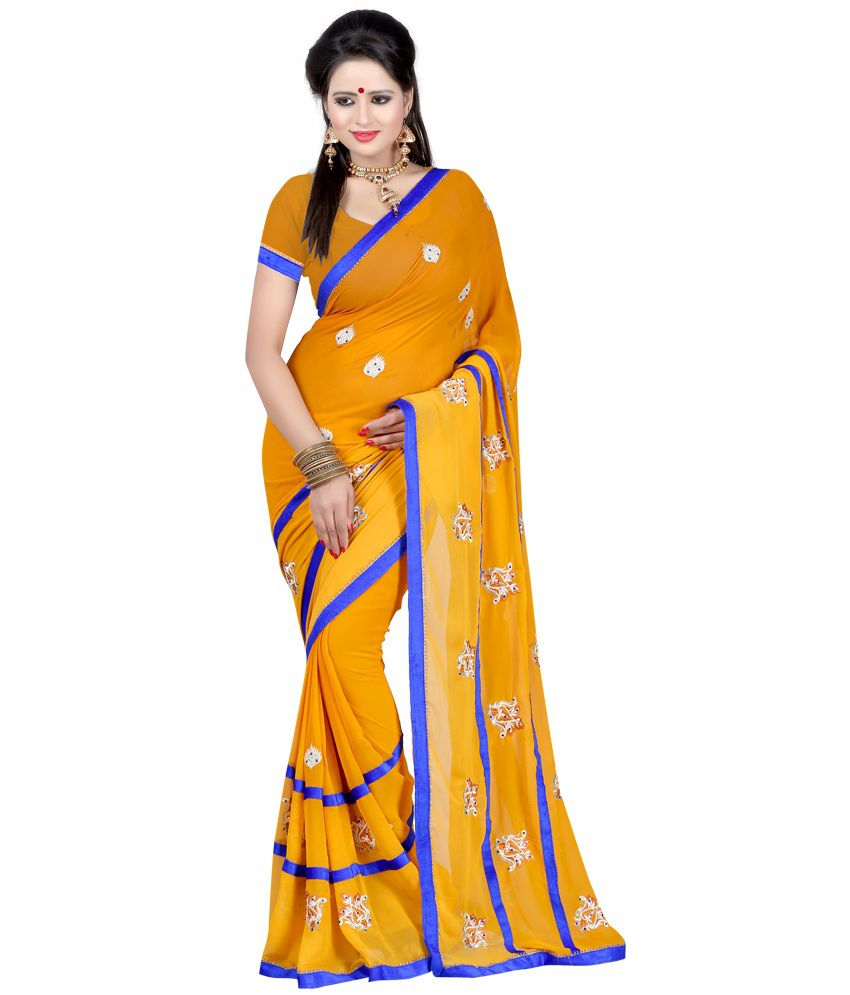 Fashiondeal Yellow Faux Georgette Saree