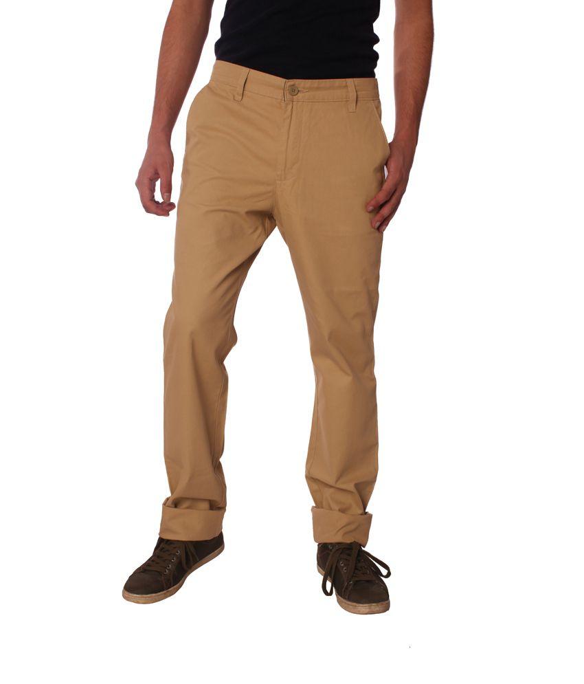 Cottny Beige Cotton Trouser