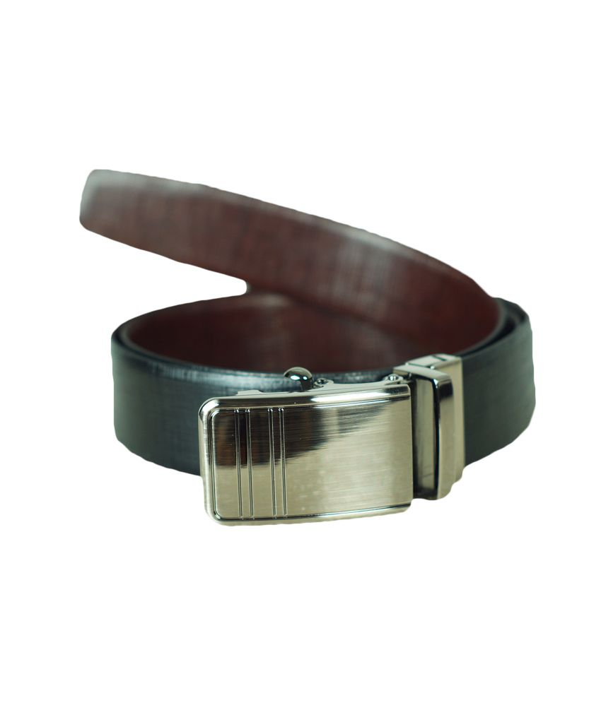 Luks Black Brown Mat Finish Leather Belt
