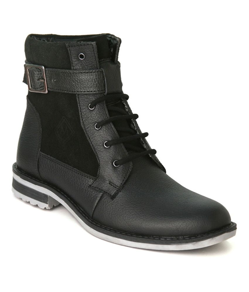 Marrtin Black Leather Ankle Boots