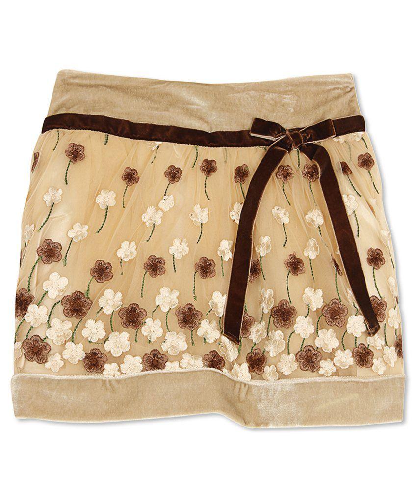 Cutecumber Girl's Brown Regular Fit Skirt