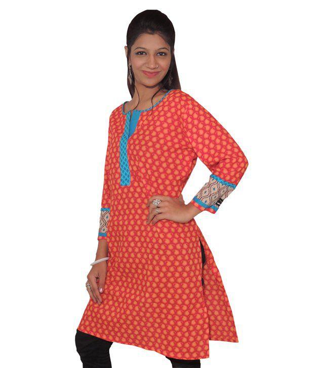 Digital Rajasthan Designer Cotton Kurti With All-over Print