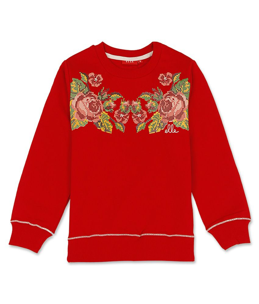 Elle Kids Girl's Red Slim Fit Sweat Shirt