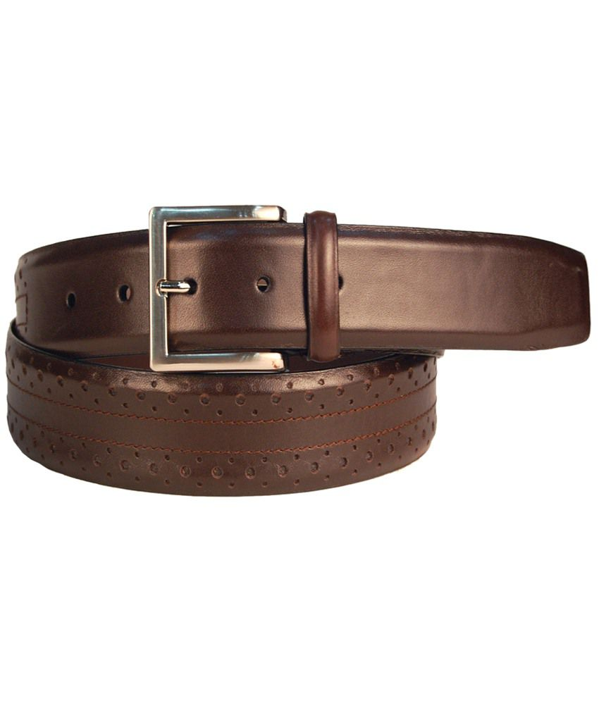 Leather Plus Glossy Brown Formal Belt For Men