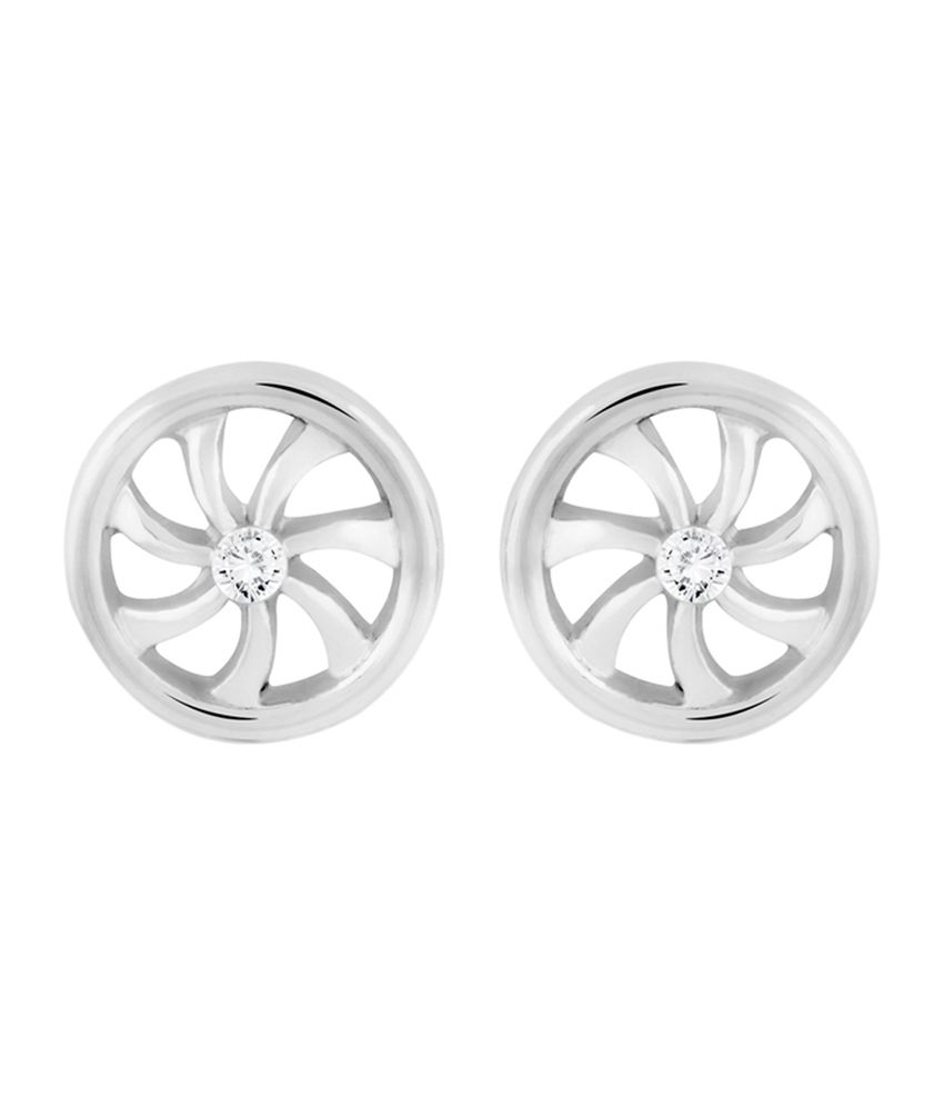 Mahi Daily wear Rhodium Plated Wheels of Time Stud Earrings with Crystal for Women ER1109299R