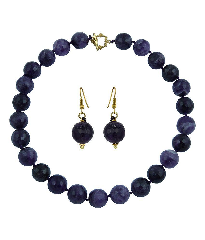 Pearlz Ocean Evie Purple Amethyst Gemstone Beads Necklace Set