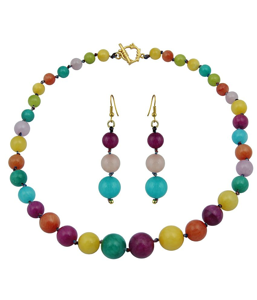 Pearlz Ocean Soul Spark Dyed Quartzite Gemstone Beads Necklace Set
