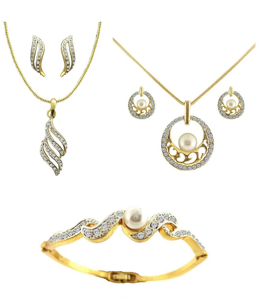 Dg Jewels Designer Dual Tone Plating Combo Of 2 Pendant Sets & Bracelet