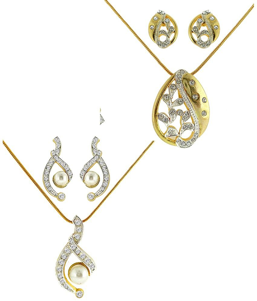 Dg Jewels Just Like Diamonds Dual Tone Plating Combo Of 2 Pendant Sets