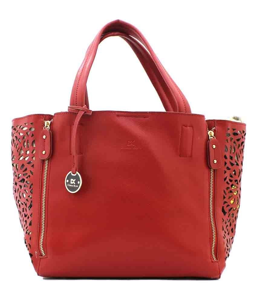Diana Korr Red Faux Leather Shoulder Bag