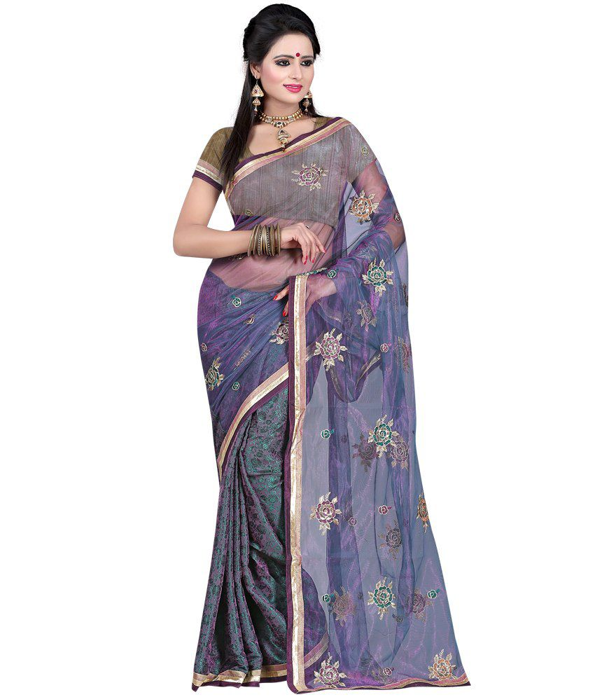 Fashiondeal Gray Net Saree