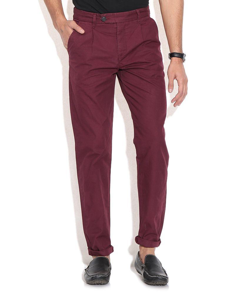 Jack & Jones Maroon Regular Trousers & Chinos