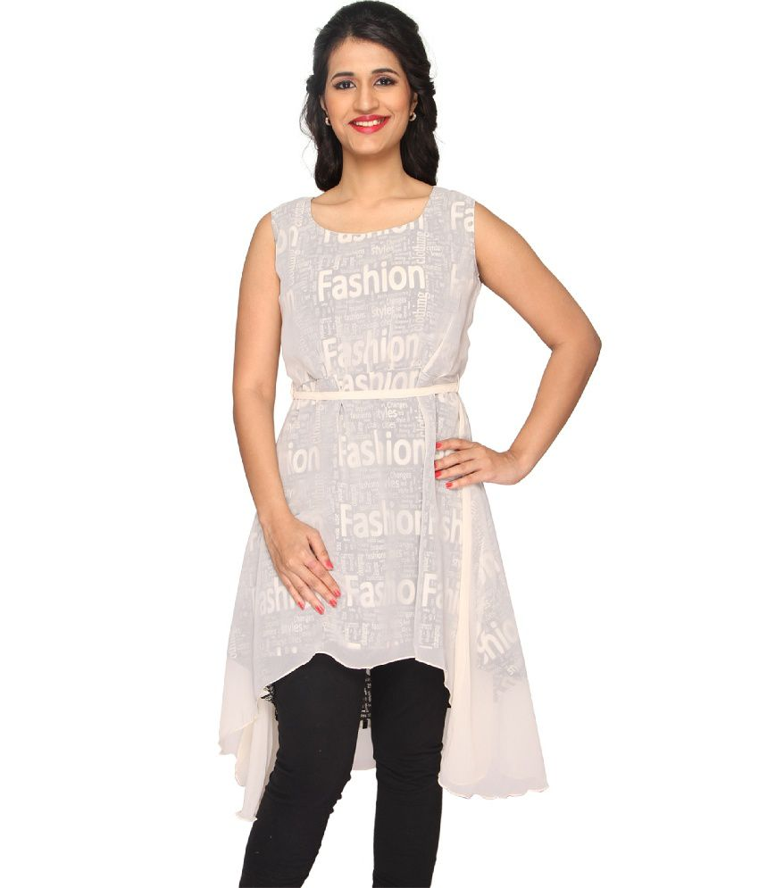 Present Creations Present Creations Adorable White Georgette Sleevless Printed Kurti For Women